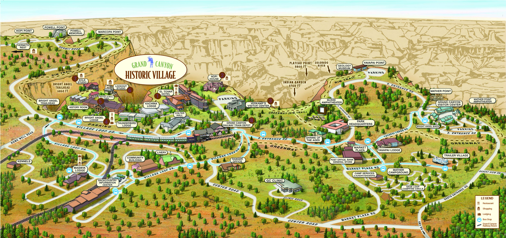 Grand Canyon Park Maps – Grand Canyon Tourist Map
