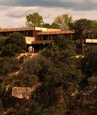 Scenic view of Thunderbird Lodge from the rim of the canyon