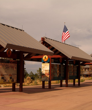 View of the visitor center at the south rim of the canyon.