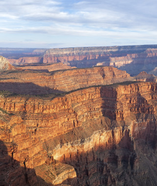 Panorama of Fossil Mountain in Grand Canyon at sunrise