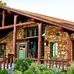 Stone and timber frame exterior of the Bright Angel Lodge