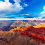 View of the red cliffs of the Grand Canyon
